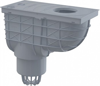 Alcaplast AGV1S - Univerzální lapač střešních splavenin - přímý šedý