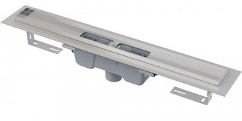 Alcaplast APZ1001-1050 - Podlahový žlab s okrajem pro perforovaný rošt, svislý odtok