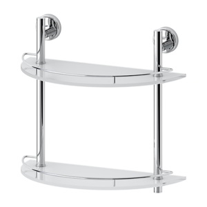 Santech Allianz Ellea - ELL 081 - Dvoupatrová půlkulatá polička s ohrádkou 40 cm (sklo)